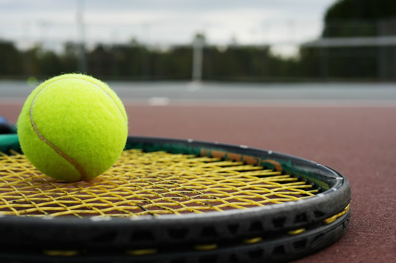 tennis ball on top of tennis racquet